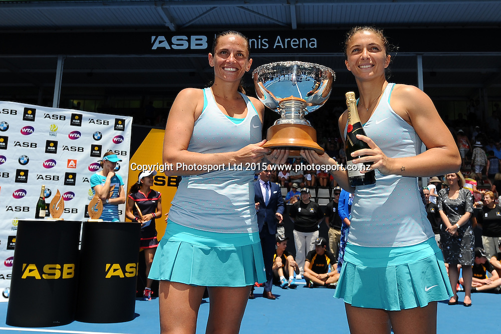 Italian players Sara Errani and Roberta Vinci after winning their Doubles Finals match against Japanese player Shuko Aoyama and Czech player Renata Voracova at the ASB Classic Women's International. ASB Tennis Centre, Auckland, New Zealand. Saturday 10 January 2015. Copyright photo: Chris Symes/www.photosport.co.nz