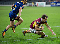 Southland's Lewis Ormond dives in to score a try against Otago in the Mitre 10 Cup rugby match, Forsyth Barr Stadium, Dunedin, New Zealand, Sunday, October 14 2017.  Credit:SNPA / Adam Binns ** NO ARCHIVING**