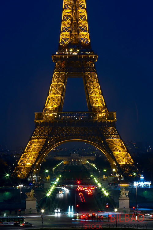 Eiffel Tower at night.<br /> Paris, France, Europe.