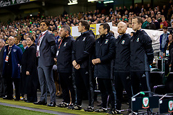 DUBLIN, REPUBLIC OF IRELAND - Friday, March 24, 2017: Wales' manager Chris Coleman, assistant manager Osian Roberts, goalkeeping coach Tony Roberts, head of performance Ryland Morgans, physiotherapist Sean Connelly and Medical Officer Doctor Jon Houghton before the 2018 FIFA World Cup Qualifying Group D match against Republic of Ireland at the Aviva Stadium. (Pic by David Rawcliffe/Propaganda)