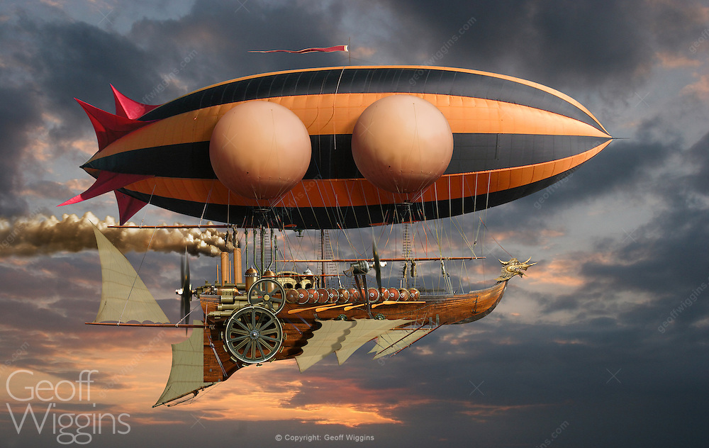 Steampunk fantasy illustration of a steam powered airships over the ocean at sunset