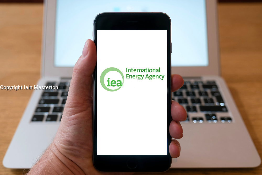 International Energy Agency, IEA, logo on  website on smart phone screen.