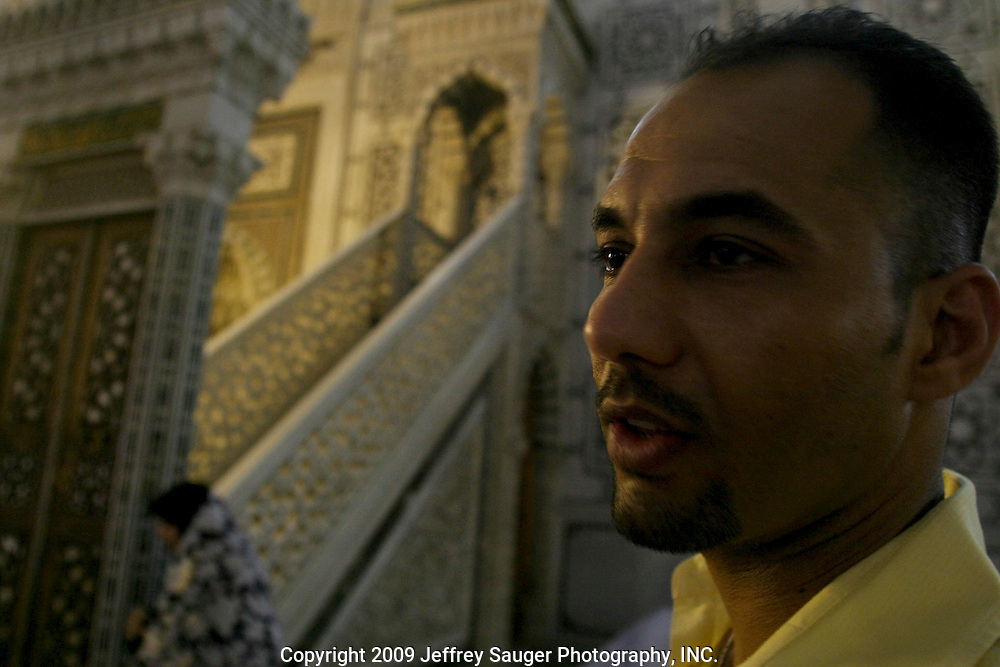 Emad Al-kasid visits the Omayyad Mosque where Imam Hussein's head was sent after the Iman Hussein was killed. Hussein was the son of Ali was the son-in-law of Muhammed and Ali was the first Shiite leader. Omayyad Mosque in Damascus, Syria on July 12, 2003. The stairs in the mosque are where Ali, Zeen Al Abdein (this is his nickname that all Shiite know him by, son of Hussein, spoke to the public in defiance for the rights of the Shiite. Zeen Al Abdein was the only surviving male of Imam Hussein's family. His famous speech from these stairs began the Shiite struggle for equal rights, dignity and freedom. According to the Shiite, he began the fight to keep Islam on the right path.