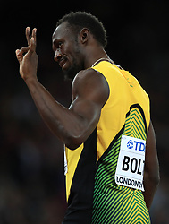 Jamaica's Usain Bolt before the men's 100m final during day two of the 2017 IAAF World Championships at the London Stadium.