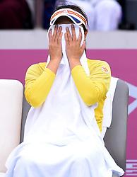 TIANJIN, Oct. 14, 2017  Peng Shuai of China wipes her face with towel during the break of the women's singles semifinal match against Maria Sharapova of Russia at the 2017 WTA Tianjin Open tennis tournament in north China's Tianjin Municipality, Oct. 14, 2017. Peng Shuai lost 0-2.  wll) (Credit Image: © Yue Yuewei/Xinhua via ZUMA Wire)
