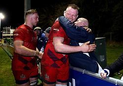 Joe Joyce of Bristol Rugby hugs a fan after the win over Nottingham Rugby - Mandatory by-line: Robbie Stephenson/JMP - 06/04/2018 - RUGBY - The Bay - Nottingham, England - Nottingham Rugby v Bristol Rugby - Greene King IPA Championship