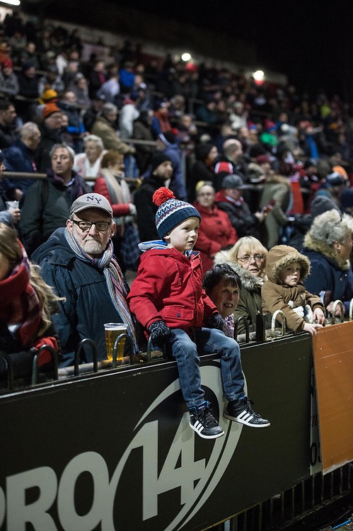 The fans wait in the bitter cold for the game to start.<br /> <br /> Photographer Simon Latham/Replay Images<br /> <br /> Guinness PRO14 - Dragons v Edinburgh - Friday 23rd February 2018 - Eugene Cross Park - Ebbw Vale<br /> <br /> World Copyright © Replay Images . All rights reserved. info@replayimages.co.uk - http://replayimages.co.uk