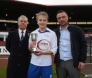David Lawson junior and David Lawson of the Dee Club present the Urquart Trophy to Grove captain Scott Glennie - St Johns RC High School v Grove Academy - Under 14s Urquart Trophy sponsored by Dee Club<br /> <br />  - &copy; David Young - www.davidyoungphoto.co.uk - email: davidyoungphoto@gmail.com