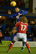 Birmingham City midfielder David Davis (26) wins a header 0-0 during the EFL Sky Bet Championship match between Birmingham City and Nottingham Forest at St Andrews, Birmingham, England on 14 January 2017. Photo by Alan Franklin.