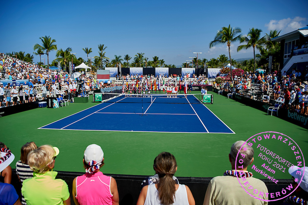 KAILUA KONA, USA - 2016 FEBRUARY 06: Opening ceremony during the Fed Cup World Group II 1st round tennis match between USA and Poland on February 06, 2016 at Holua Tennis Center in Kailua Kona, USA.<br /> <br /> Picture also available in RAW (NEF) or TIFF format on special request.<br /> <br /> Any editorial, commercial or promotional use requires written permission from the author of image.<br /> <br /> Adam Nurkiewicz declares that he has no rights to the image of people at the photographs of his authorship.<br /> <br /> Mandatory credit:<br /> Photo by &copy; Adam Nurkiewicz / Mediasport