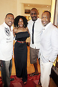 24 June 2010- Miami Beach, Florida- l to r:  Michael Baisden, Andrea Kelly, Idris Elba, and Jeff Friday at the The 2010 American Black Film Festival Founder's Brunch held at Emeril's on June 24, 2010. Photo Credit: Terrence Jennings/Sipa