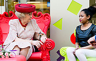 GRONINGEN - Princess Beatrix unveils on Friday, April 17th at the Beatrix Children's Hospital of the University Medical Center Groningen (UMCG), a collage of portraits of herself  .Prinses Beatrix onthult op vrijdag 17 april in het Beatrix Kinderziekenhuis van het Universitair Medisch Centrum Groningen (UMCG) een collage portretten van zichzelf. COPYRIGHT ROBIN UTRECHT