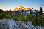 Alpenglow on Mount Shuksan near sunset from Artist Point in the Mt. Baker-Snoqualmie National Forest - Washington State, USA