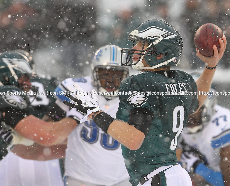 Dec. 8, 2013 - Philadelphia, PA, USA - Philadelphia Eagles' Nick Foles throws a pass during the 3rd quarter against the Detroit Lions at Lincoln Financial Field in Philadelphia on Sunday, Dec. 8, 2013. The Eagles won, 34-20