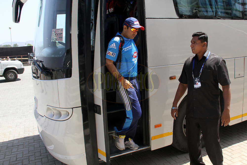 Virendra Sehwag arrives for match 31 of the the Indian Premier League ( IPL) 2012  between The Pune Warriors India and the Delhi Daredevils held at the Subrata Roy Sahara Stadium, Pune on the 24th April 2012..Photo by Prashant Bhoot/IPL/SPORTZPICS
