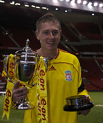 Manchester, England - Thursday, April 26, 2007: Liverpool Lee Woodward celebrates with the trophy after beating Manchester United on penalties to win the FA Youth Cup for the second successive year during the FA Youth Cup Final 2nd Leg at Old Trafford. (Pic by David Rawcliffe/Propaganda)
