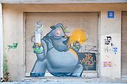 hippo with a water pipe Graffiti wall art in Florentin neighbourhood, Tel Aviv