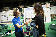 "Meghan Little receives graduate student award for her work titled, ""Conservation and Compliance: A Case Study in Kosovo's Bjeshket e Nemuna National Park"" from Janet Hulm, Interim Dean of University Libraries at the Student Expo. Photo by Ben Siegel"