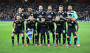 The Dynamo squad during the Champions League match between Arsenal and Dinamo Zagreb at the Emirates Stadium, London, England on 24 November 2015. Photo by Matthew Redman.