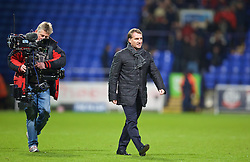 BOLTON, ENGLAND - Wednesday, February 4, 2015: Liverpool's manager Brendan Rodgers walks onto the pitch to congratulate his players after a 2-1 victory over Bolton Wanderers during the FA Cup 4th Round Replay match at the Reebok Stadium. (Pic by David Rawcliffe/Propaganda)