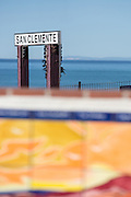 San Clemente Sign at the Pier by the Train Tracks