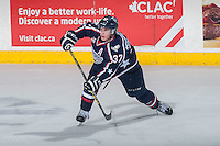 KELOWNA, CANADA - JANUARY 22: Parker Wotherspoon #37 of Tri City Americans passes the puck against the Kelowna Rockets on January 22, 2016 at Prospera Place in Kelowna, British Columbia, Canada.  (Photo by Marissa Baecker/Shoot the Breeze)  *** Local Caption *** Parker Wotherspoon;