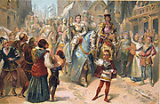 Joan of Arc (Saint Joan c1412-1431) French national heroine during the Hundred Years' War between France and England.  Joan entering Orleans in triumph, 1429. Nineteenth century Trade Card Chromolithograph