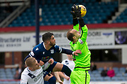 14th September 2019; Dens Park, Dundee, Scotland; Scottish Championship, Dundee Football Club versus Alloa Athletic; Alloa keeper Jamie MacDonald gathers under presseure from Declan McDaid of Dundee