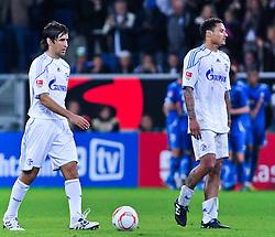10.09.2010, Rhein-Neckar-Arena, Sinsheim, GER, 1. FBL, TSG Hoffenheim vs Schalke 04, im Bild Raul (Schalke #7) und Jermaine Jones (Schalke #23) direkt nach dem Abpfff, EXPA Pictures © 2010, PhotoCredit: EXPA/ nph/  Roth+++++ ATTENTION - OUT OF GER +++++ / SPORTIDA PHOTO AGENCY