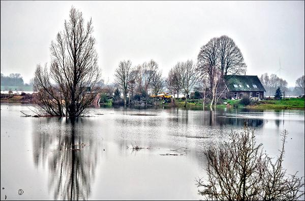 Nederland, Nijmegen, 12-1-2018Het hoogwater, hoge water, trekt veel nieuwsgierigen en andere dagjesmensen naar de Ooijpolder en levert schilderachtige beelden op. Dit huis ligt buitendijks, maar is niet ondergelopen.Foto: Flip Franssen