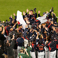 23 March 2009: Manager Tatsunori Hara of Japanis tossed in the air by his players after defeating Korea during the 2009 World Baseball Classic final game at Dodger Stadium in Los Angeles, California, USA. Japan defeated Korea 5-3