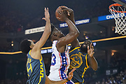 January 31, 2019; Oakland, CA, USA; Golden State Warriors forward Draymond Green (23) blocks the shot attempt by Philadelphia 76ers guard Jimmy Butler (23) during the second quarter at Oracle Arena.