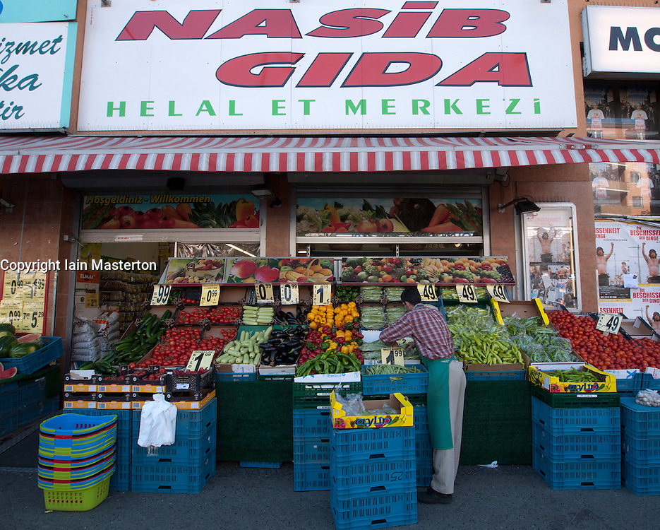 Fruit and vegetable green grocer shop in Turkish part of Kreuzberg in Berlin Germany