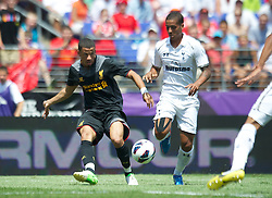 BALTIMORE, MD - Saturday, July 28, 2012: Liverpool's Nathan Ecclestone in action against Tottenham Hotspur during a pre-season friendly match at the M&T Bank Stadium. (Pic by David Rawcliffe/Propaganda)