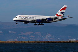Airbus A380-841 (G-XLEE) operated by British Airways landing at San Francisco International Airport (KSFO), San Francisco, California, United States of America