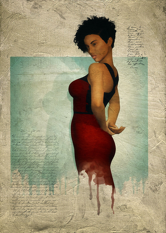 The strength, courage, and humanity of Black women is extraordinary. This fact is beautifully depicted in this fine art piece, which depicts a woman in a simple red dress. While the dress itself might be simple, you should keep in mind that nothing about this woman should be considered simple. This is a woman of passion and mystery. These are qualities we can find from simply looking at this fine art piece more closely. This is a woman who knows secrets, and this is a woman who is willing to take those secrets as far as they will move her. This piece is ideal for homes or places of business. <br />