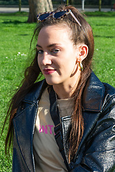 Sydney Turner, 22, from Hertfordshire gives her views on Brexit on Clapham Common in South London. London, March 24 2019.