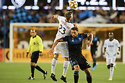 Philadelphia Union forward Kacper Przybylko (23) heads the ball past San Jose Earthquakes defender Guram Kashia (37) during an MLS soccer match won by Philadelphia 2-1, Wednesday, Sept. 25, 2019, in San Jose, Calif. (Peter Klein/Image of Sport)