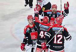 13.12.2015, Tiroler Wasserkraft Arena, Innsbruck, AUT, EBEL, HC TWK Innsbruck die Haie vs HC Orli Znojmo, 30. Runde, im Bild Torjubel HC TKW Innsbruck Die Haie nach dem Tor zum 2:2 durch David Schuller (HC TWK Innsbruck Die Haie) // during the Erste Bank Icehockey League 30th round match between HC TWK Innsbruck  die Haie and HC Orli Znojmo at the Tiroler Wasserkraft Arena in Innsbruck, Austria on 2015/12/13. EXPA Pictures © 2015, PhotoCredit: EXPA/ Jakob Gruber// during the Erste Bank Icehockey League 30th round match between HC TWK Innsbruck  die Haie and HC Orli Znojmo at the Tiroler Wasserkraft Arena in Innsbruck, Austria on 2015/12/13. EXPA Pictures © 2015, PhotoCredit: EXPA/ Jakob Gruber