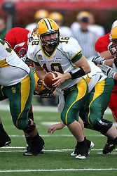 25 October 2008: Nick Mertens looks for his running back in a game which the North Dakota Bison defeated the Illinois State Redbirds at Hancock Stadium on campus of Illinois State University in Normal Illinois