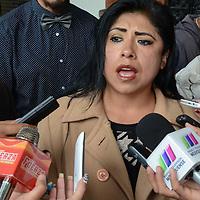 Toluca, México (Agosto 08, 2016).- Cristina Sierra, Presidenta del PRD en Toluca, durante conferencia de prensa, quien aseguró que por lo menos tres regidores no están cumpliendo con sus funciones públicas en el cabildo municipal. Agencia MVT / Arturo Hernández.