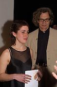 Wim Wenders and Becks Art prizewinner, Rosalind Nashashibi, Becks Futures 2003 awards evening. I.C.A. 29 April 2003. © Copyright Photograph by Dafydd Jones 66 Stockwell Park Rd. London SW9 0DA Tel 020 7733 0108 www.dafjones.com