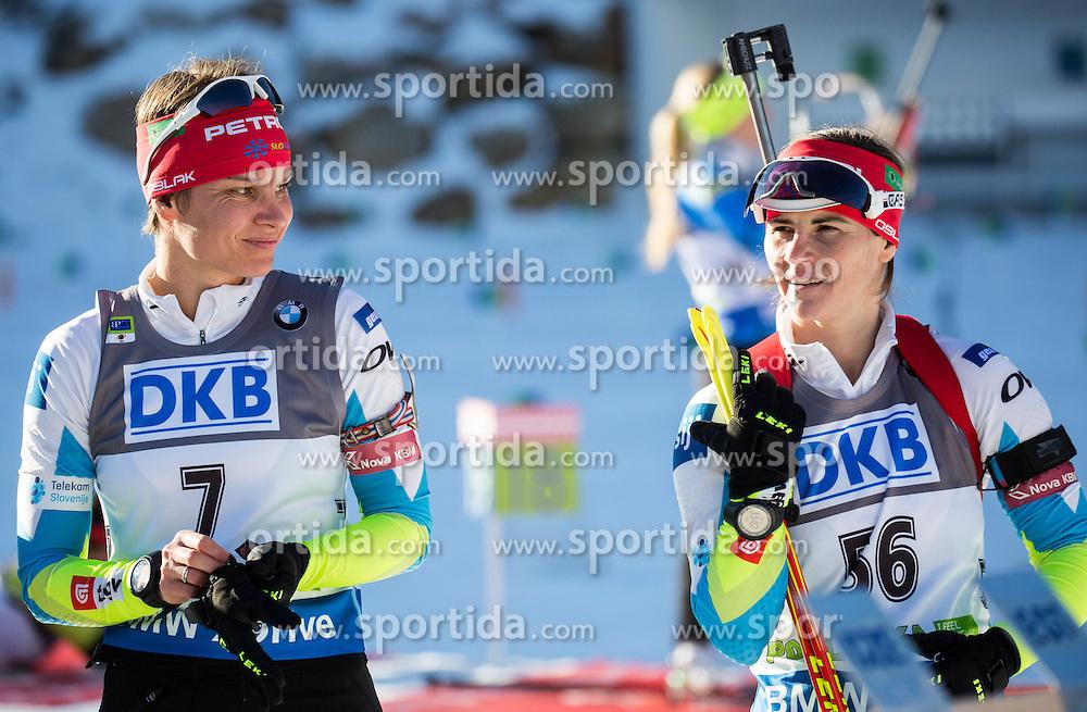 Teja Gregorin (SLO) and Andreja Mali (SLO) during Women 7,5 km Sprint at day 2 of IBU Biathlon World Cup 2015/16 Pokljuka, on December 18, 2015 in Rudno polje, Pokljuka, Slovenia. Photo by Vid Ponikvar / Sportida