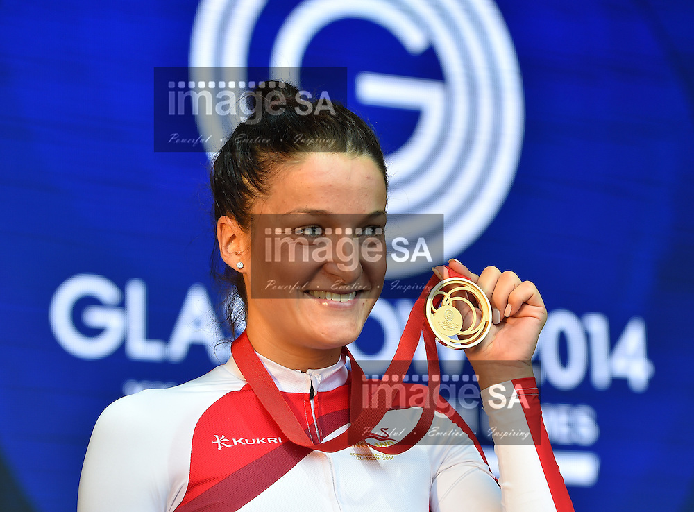 GLASGOW, SCOTLAND - AUGUST 03: Lizzie Armistead of England with her gold medal in the women's cycling road race during day 11 of the 20th Commonwealth Games on the Glasgow road course on August 03, 2014 in Glasgow, Scotland. (Photo by Roger Sedres/Gallo Images)