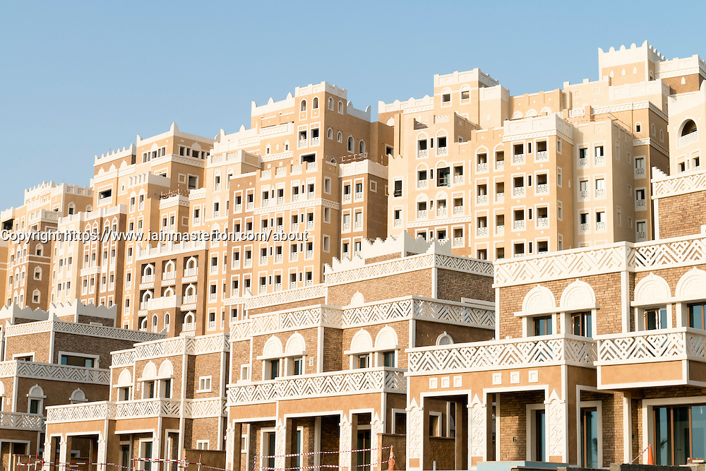Luxury hotel development Kingdom of Sheba under construction on The Palm Jumeirah island in Dubai United Arab Emirates