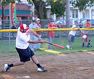 Real Ponce's Mark Capriotti drives in a run against Lajas during a semifinal playoff softball game in a league consisting of teams named after Puerto Rican cities Thursday, September 07, 2017 in Bristol, Pennsylvania. The teams in the league are named after various towns and areas in Puerto Rico, including Lajas, Real Ponce, Adjuntas and Comerio. (Photo by William Thomas Cain)