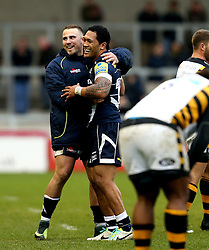 Johnny Leota of Sale Sharks and Mark Jennings of Sale Sharks celebrate the win over Wasps - Mandatory by-line: Robbie Stephenson/JMP - 19/02/2017 - RUGBY - AJ Bell Stadium - Sale, England - Sale Sharks v Wasps - Aviva Premiership