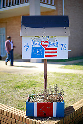 06 February 2015. Monroeville, Alabama.<br /> On the trail of Harper Lee's 'To Kill a Mocking Bird.'<br /> A patriotic bird box in the old historic downtown area of Monroeville. 'God bless America.'<br /> Photo; Charlie Varley/varleypix.com