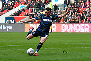 Jack Harrison (22) of Leeds United shoots at goal during the EFL Sky Bet Championship match between Bristol City and Leeds United at Ashton Gate, Bristol, England on 9 March 2019.