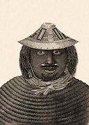 A man from Prince William's Sound, Alaska. Engraving from 'Captain Cook's Original Voyages Round the World' (Woodbridge, Suffolk, c1815).